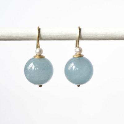 """Feinvergoldete Ohrhänger aus Sterlingsilber mit Edelsteinen und Perlen aus der Kollektion """"Klassisch, klar, kunterbunt"""