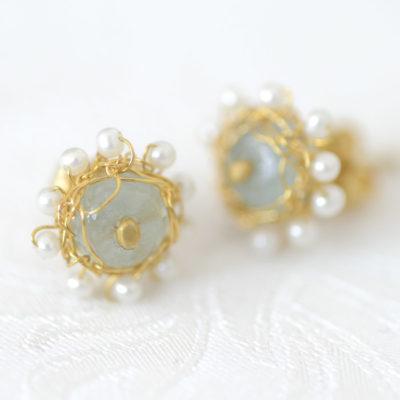 """Kollektion """"Häkelblümchen"""" - Ohrstecker aus feinvergoldetem Sterlingsilber mit Edelsteinen und Perlen"""