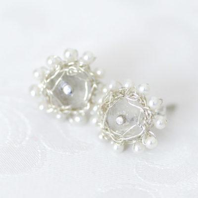 """Kollektion """"Häkelblümchen"""" - Ohrstecker aus Sterlingsilber mit Edelsteinen und Perlen"""